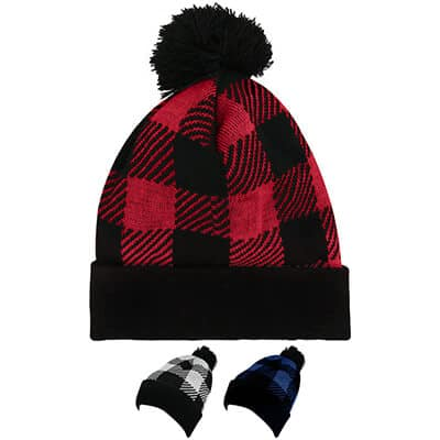 Blank black with red buffalo plaid beanie.