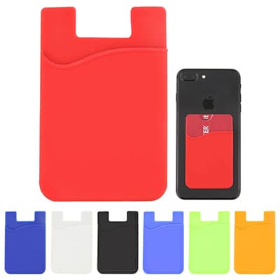 Blank silicone red phone wallet.