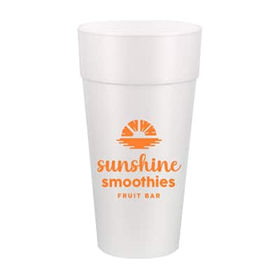 Styrofoam white foam cup with custom imprint in 24 ounces.