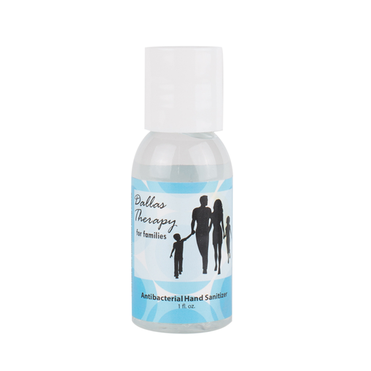 Plastic 1 ounce round bottle unscented hand sanitizer with full color imprint.