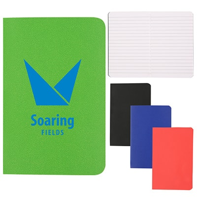 Leatherette lime mini memo book with printed logo.