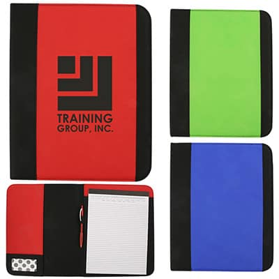 Branded red water resistant padfolio.