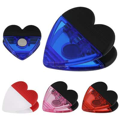 Plastic translucent blue heart magnet chip clip blank.