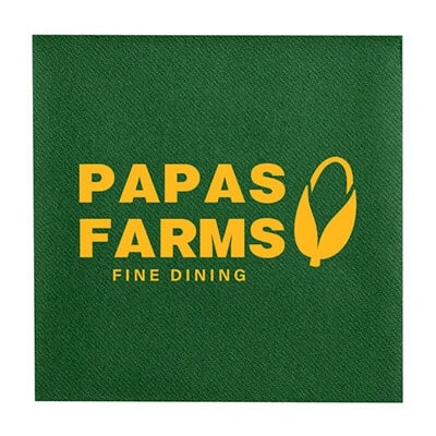 2Ply tissue green color linen cocktail napkins personalized.