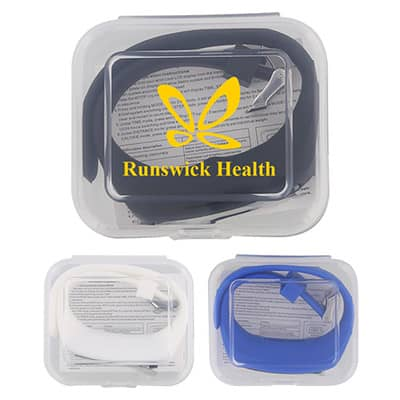 Plastic step tracker with clear branded case.