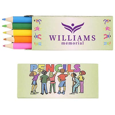 Cardboard 5 pack colored pencils with logoed imprint.