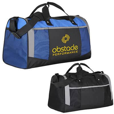 Polyester royal blue adventure duffel with custom imprinted.