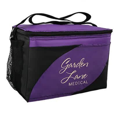 Polyester purple wave lunch cooler with promotional logo.