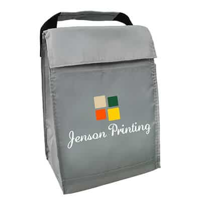 Polyester gray fold-over budget lunch bag with personalized full color logo.