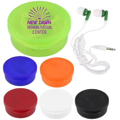 Plastic lime green branded case with earbuds.