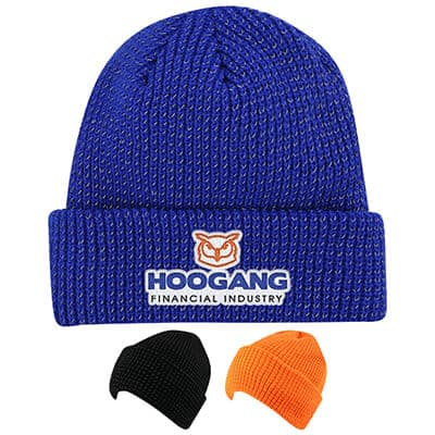 Customized royal blue embroidered beanie.
