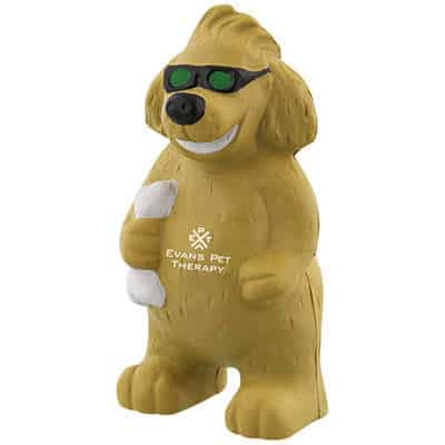 Foam lola dog stress reliever branded with promo.