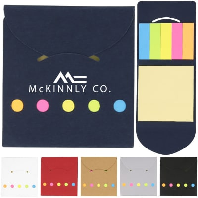 Paper blue pocketbook sticky notes with printed logo.