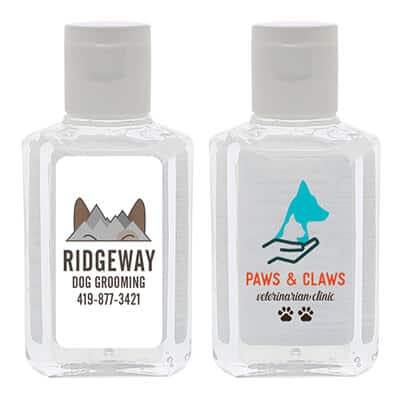 2 ounce PET plastic bottle with a printed logo on a clear or white label.