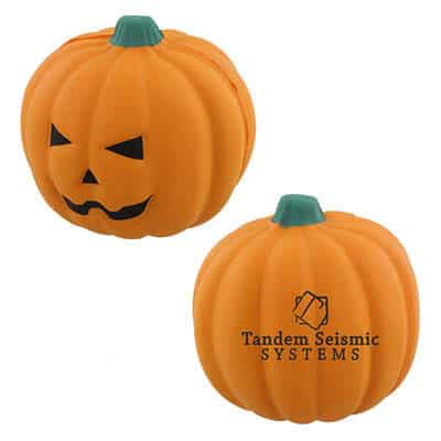 Foam jack o'lantern stress ball personalized with logo.