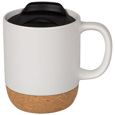 Ceramic white coffee mug with c-handle blank in 14 ounces.